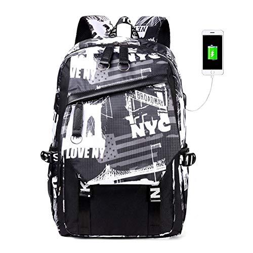 ラップトップバッグハンドバッグキャンバスショルダーデイパック用女の子男の子ティーンアウトドアバックパックトラベルバッグ、USB充電ポート、耐久性、防水性、そして耐摩耗性。