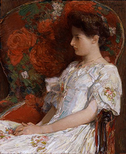 Das Museum Outlet–Childe Hassam–Der viktorianischen Stuhl, gespannte Leinwand Galerie verpackt. 40,6x 50,8cm