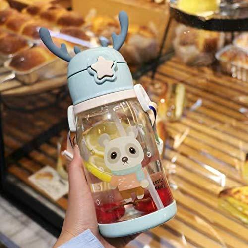 Taza de agua con pajita para bebé con mano Taza de leche portátil a prueba de fugas con escala Botella de agua de doble propósito para niño bebé 600Ml