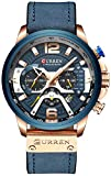 Mens Luxury Watches Business Chronograph Dress Waterproof Leather Strap Analog Quartz Wrist Watch (Blue Rose)