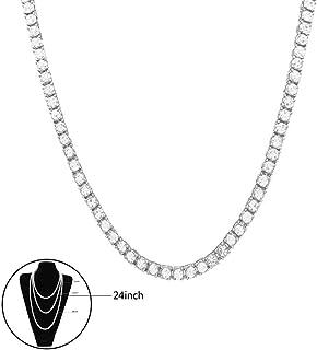 Halskette Hip Hop Kristall Strass Künstliche Diamant 1Zeile Cuban vergoldet Link Kette Halskette Cosplay Party Verkleiden für Männer und Frauen Silber,24inch