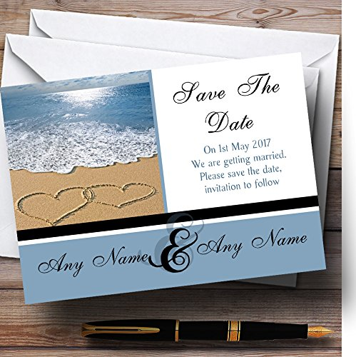 Love Heart Sand Beach Sea Personalized Wedding Save The Date Cards