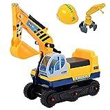 deAO Veicolo Trattore Escavatore 2x1 Cavalcabile Per Bambini Include Due Estensione