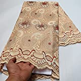 RONVITAL 5 Yards Swiss Lace Fabric Latest Dry Lace Embroidery African 100% Cotton Fabrics Swiss Voile Lace Popular Dubai Style (Apricot)