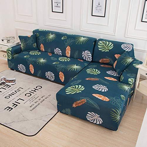 SLOUD Fundas de sofá en Forma de L, Fundas de sofá seccionales en Forma de L, 2 Fundas de sofá elásticas de Tela de poliéster + 2 Fundas de Almohada-En Forma de l 3+4 plazas-G