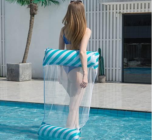 Queta Hamaca Flotante para Piscina, Colchoneta Hinchable Piscina de Malla, Flotador de Tumbona Inflable del Agua, Flotante Colchoneta para Partido Piscina Playa para Adultos (Estilo2 Azul)