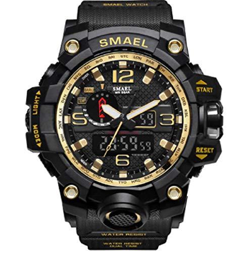 Relógio Smael Original Tático Militar Prova D'água 1545 - Preto e Dourado