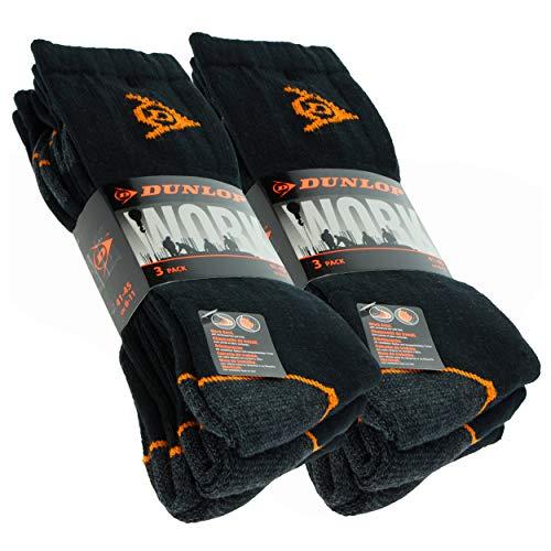 DUNLOP 6 pares de calcetines de trabajo, pie de rizo, puntera y talón reforzados, excelente calidad de algodón peinado (Negro, 41-45)