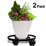 """Amagabeli 2 Pack 14"""" Metal Plant Caddy Heavy Duty Iron Potted Plant Stand With Wheels Round Flower Pot Rack on Rollers Dolly Holder on Indoor Outdoor Planter Trolley Casters Rolling Tray Coaster Black"""