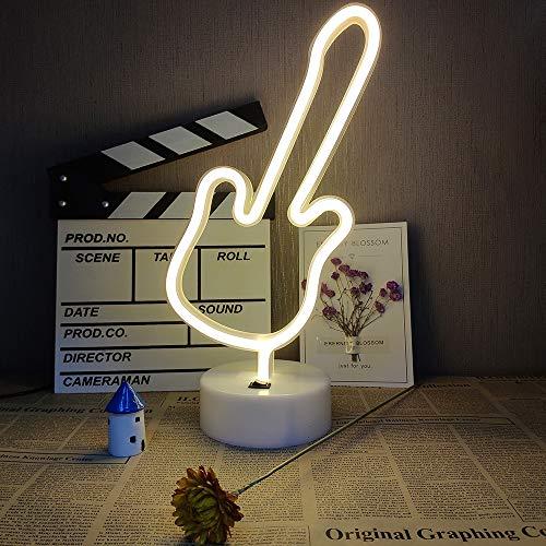 ENUOLI LED Leuchtreklamen Gitarre dekorative Leuchten LED warmweiß Neonlichter USB/batteriebetriebenes Neon-Lampe mit Sockel Neon Musikinstrument Zeichen Neon-Nachtlicht für Wohnzimmer-Party Hallow