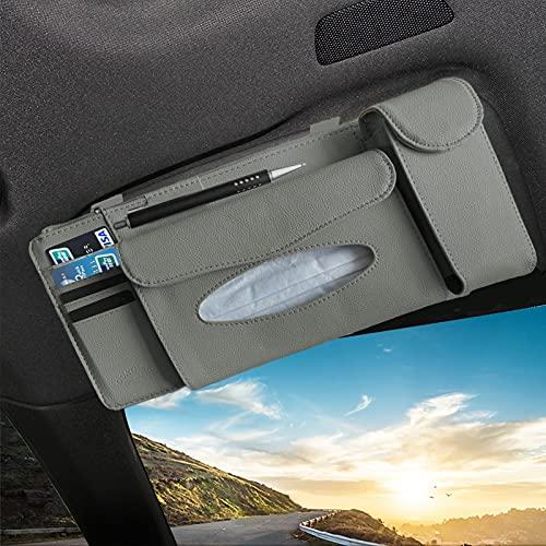YIVIYAR Car Tissue Holder, Car Visor Organizer Sun Visor Napkin Holder PU Leather Backseat Tissue Case Storage Pouch Holder for Cards, Pens, Sunglasses, Paper Towels and Document Holder (Grey)