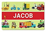 I See Me! Kids Placemat Personalized with Child's Name, Custom Dining Placemat, Unique Gift for Boys and Girls, Monster Truck, Firetruck