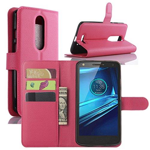 HualuBro Moto X Force Hülle, [All Aro& Schutz] Premium PU Leder Leather Wallet HandyHülle Tasche Schutzhülle Flip Hülle Cover für Motorola Moto X Force Smartphone (Rose)
