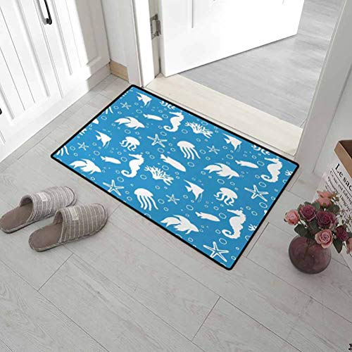 """Leigh R. Avans Door Mat Animal Machine-Washable/Non-Slip Mix of Seahorses Pipefishes and Others Swimming Diving Deep Zone Summertime 24"""" x 47"""" Turquoise White"""