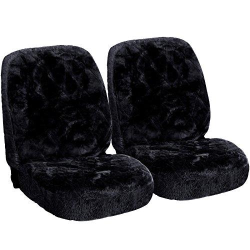 WOLTU AS7334sz-2 Lammfellbezug Auto Sitzbezug Echtlammfell Vollbezug Vordersitzbezug universal Größe, Feste Wolle, 2er Set, ca. 1.8 cm Dicke, Schwarz