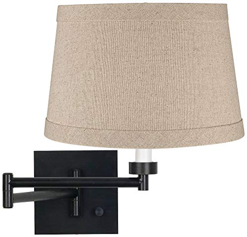 Natural Linen Drum Espresso Swing Arm Wall Lamp