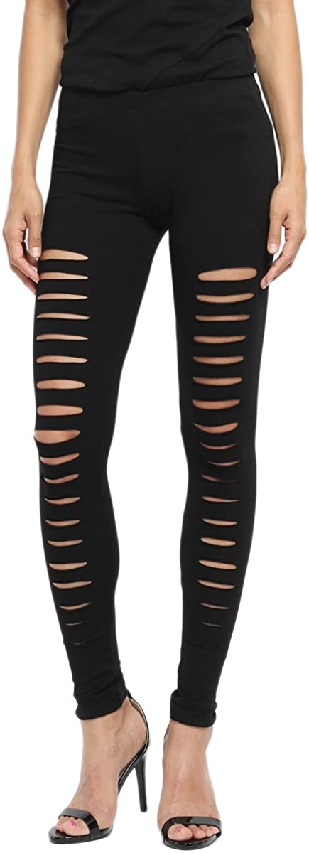 TheMogan Women's Baltimore Mall Moto Cutout Distressed Slashed Manufacturer OFFicial shop Elastic Pull On