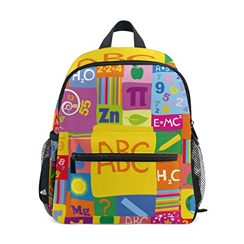 My Daily Kids Backpack Colorful ABC Chemistry Doodle Nursery Bags for Preschool Children