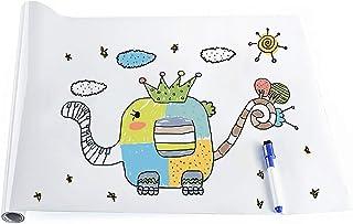 rabbitgoo Pizarra Blanca Pegatina Rollo Pizarra Adhesiva 44.5x200CM Pizarra Blanca Adhesiva Tablero Blanco Etiqueta de Pared con 1 Rotulador Borrable Gratuito para Escuelas Oficinas Casas