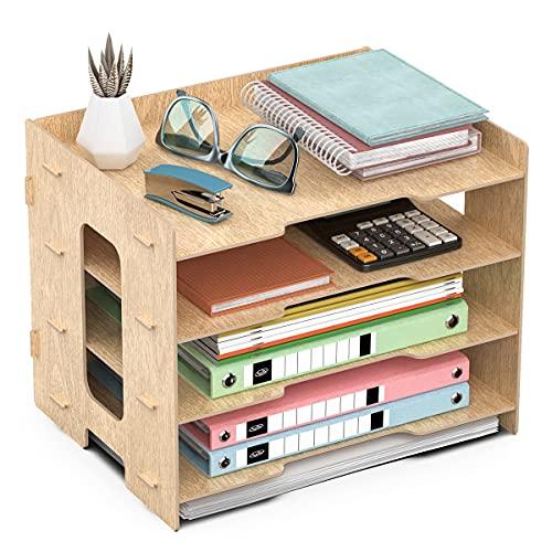 JOPOO Bandeja para cartas de oficina, 4 niveles, tamaño A4, organizador de escritorio