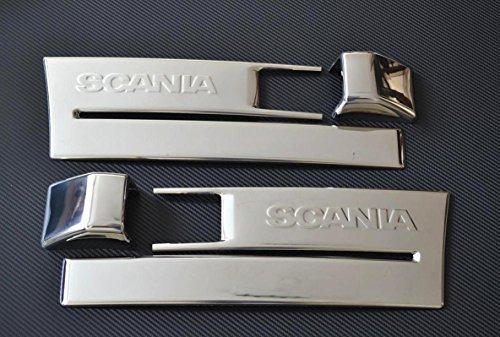 Lot de 4 pièces en acier inoxydable Pied étape + couvertures de côté Indicateur pour Scania Série R Euro 6