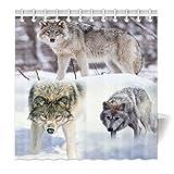 YISUMEI Hem Gewichte Vorhang Duschvorhang Mode Duschvorhänge 180x180 cm Wolf Schnee Wald