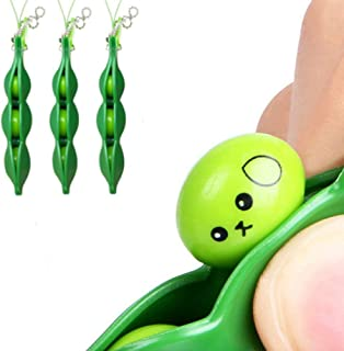 [Pack of 3] Ybetter Funny Facial Expressions Squeeze Bean Fidget Bean Toy for Reduce Stress and Anxiety, OCD, ADD, ADHD, Bitting Nails, Peel Skin, Improve Focus, Perfect for Children and Adults