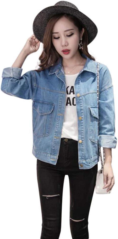 Saborz Women's Denim Jacket Lambswool Jean Coat 4 Pockets Wide Outerwear
