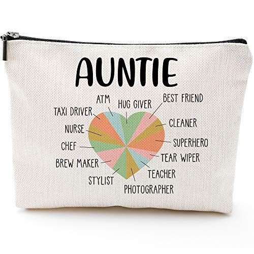 Funny Aunt gifts,Auntie gifts from Niece,Nephew,Best Aunt Gifts,Makeup Bag, Make Up Pouch,Unicorn , Funny Handle Bag,🏆 Prize for Aunt