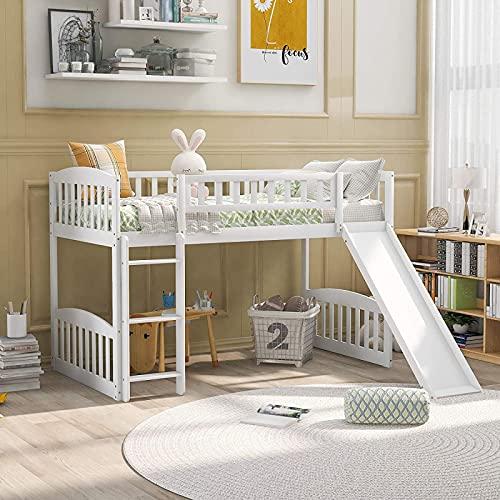 MWKL La más Nueva Cama Baja Tipo Loft para niños y niños pequeños, Cama Alta de Madera Maciza con tobogán y Escalera, Cama Alta tamaño Doble con tobogán