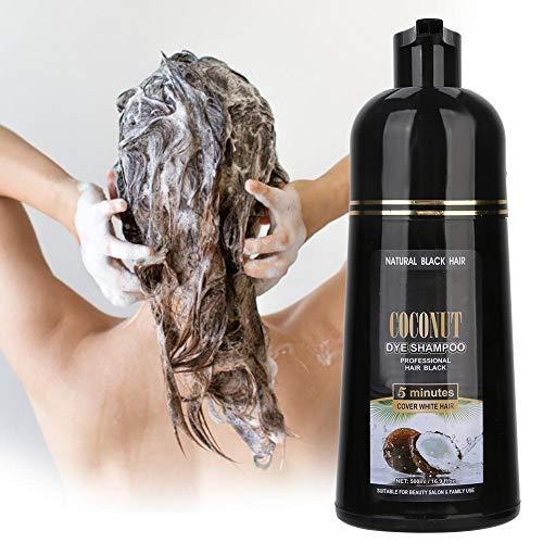 Champú para cabello negro, 500 ml Champú de coco y jengibre Champú nutritivo para teñir el cabello rápido para cabello negro