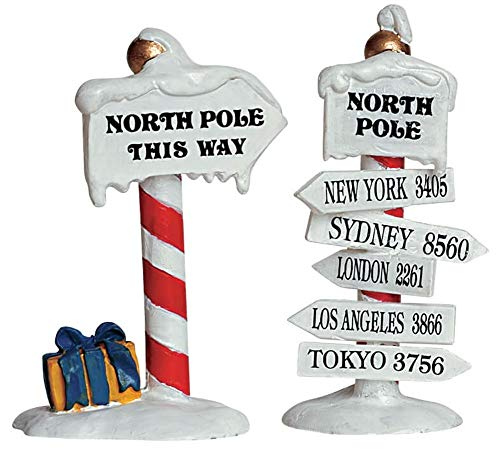 Lemax Christmas,set di cartelli North Pole, set di 2pezzi (64455)