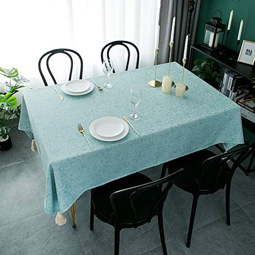 Yinaa Mantel de Tela Antimanchas Vintage Borla Simple Moderna Disponible en Varias Medidas Azul 140 × 220cm