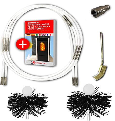 SHAFFER PRO - kit de deshollinador de chimeneas estufa de pellets 6 metros - Cepillo deshollinamiento 80 mm 100 mm EASYFLEX [Libro electrónico disponible para descargar] 10 varillas flexibles M12