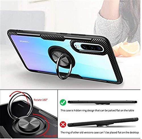 Kompatibel mit Huawei P30 Lite Hülle Huawei P30 Pro/P30 Silikon-Weiche Handyhülle Kickstand 360 Grad Handy transparent Magnetische Autohalterung Anti-Rutsch Schutz (Schwarz 1, P30 Lite) - 4