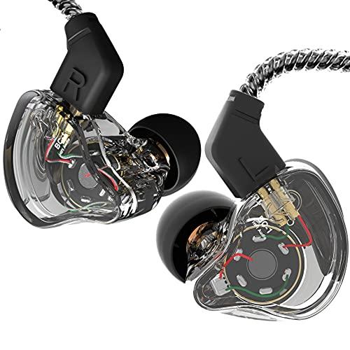 CCZ Melody - Auriculares in-ear Yinyoo con cable monitores de oído IEM HiFi Bass con 1DD 1BA, aletas de oído, cable 4N OFC para músicos, cantantes, escenarios (sin micrófono, negro transparente)