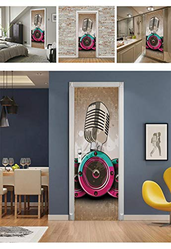 Door Wall Sticker Creative 3D Microphone Stickers Refurbished Self-Adhesive Bedroom Wall PVC Stickers