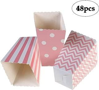 BinaryABC Paper Popcorn Boxes Striped Polka Dot Candy Box for Party Favor,48 PCS(Pink)