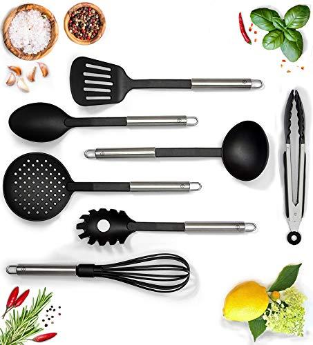 G&K Kitchenware Premium Küchenhelfer Set Schwarz (7er Set) - Hoch Hitzebeständig - (Schonend Für Jedes Kochgeschirr)