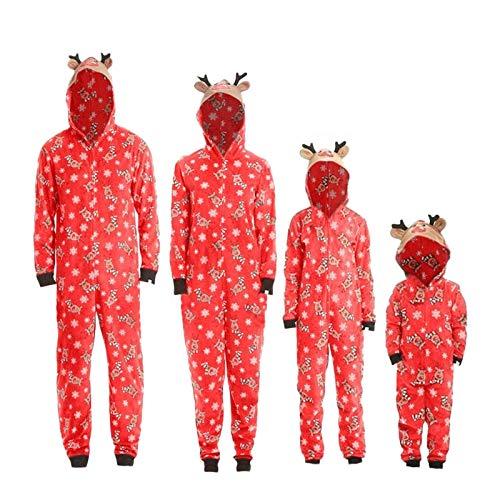 Matching Family Christmas Onesies Pajamas Sets Elk Antler Hooded Romper PJs Zipper Jumpsuit Loungewear Red