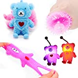 Yunobi Stress Balls for Kids Squishy Bouncy Ball Stress Relief Spiky Sensory Therapy Toys Neon Party Favors Glowing Goodie Bags Stuffers ( Glowing Little Bear Blue )