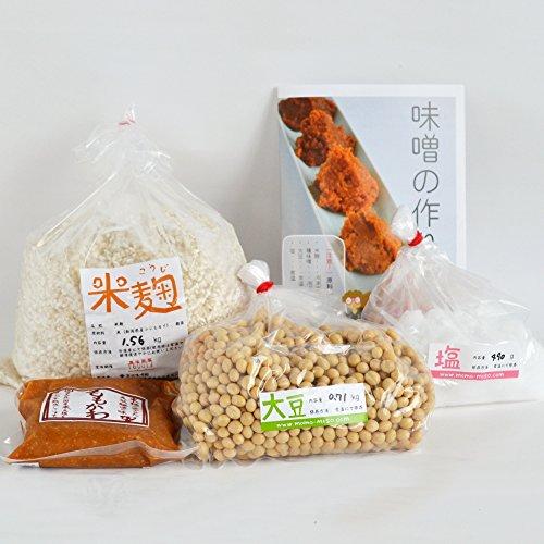 味噌手作りセット(甘口版)4kg用 樽無し(大豆0.71kg,米麹1.56kg,塩490g)