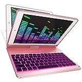 iPad Keyboard Case for iPad 2018 (6th Gen) - iPad 2017 (5th Gen) - iPad Pro 9.7 - iPad Air 2 & 1 - Thin & Light - 360 Rotatable - Wireless/BT - Backlit 7 Color (Rose | Black Key)