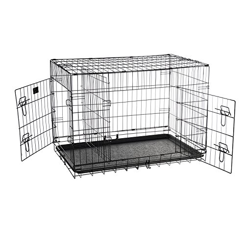 Pet Trex 36' Folding Pet Crate Double Door Kennel Wire Cage with Divider, 36 Inch