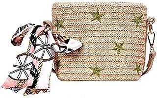 TOOGOO Women'S Embroidery Star Bag Straw Handbag Toss Ribbon Bow Beach Bag Messenger Bag White