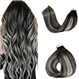 LaaVoo 22inch Remy Long Ombre Hair Extensions Tape in Black to Silver Grey Invisible Human Hair Tape on Hair Extensions Silky Straight Balayage Two Tone Tape Extensions Seamless Hair 20pcs/50g