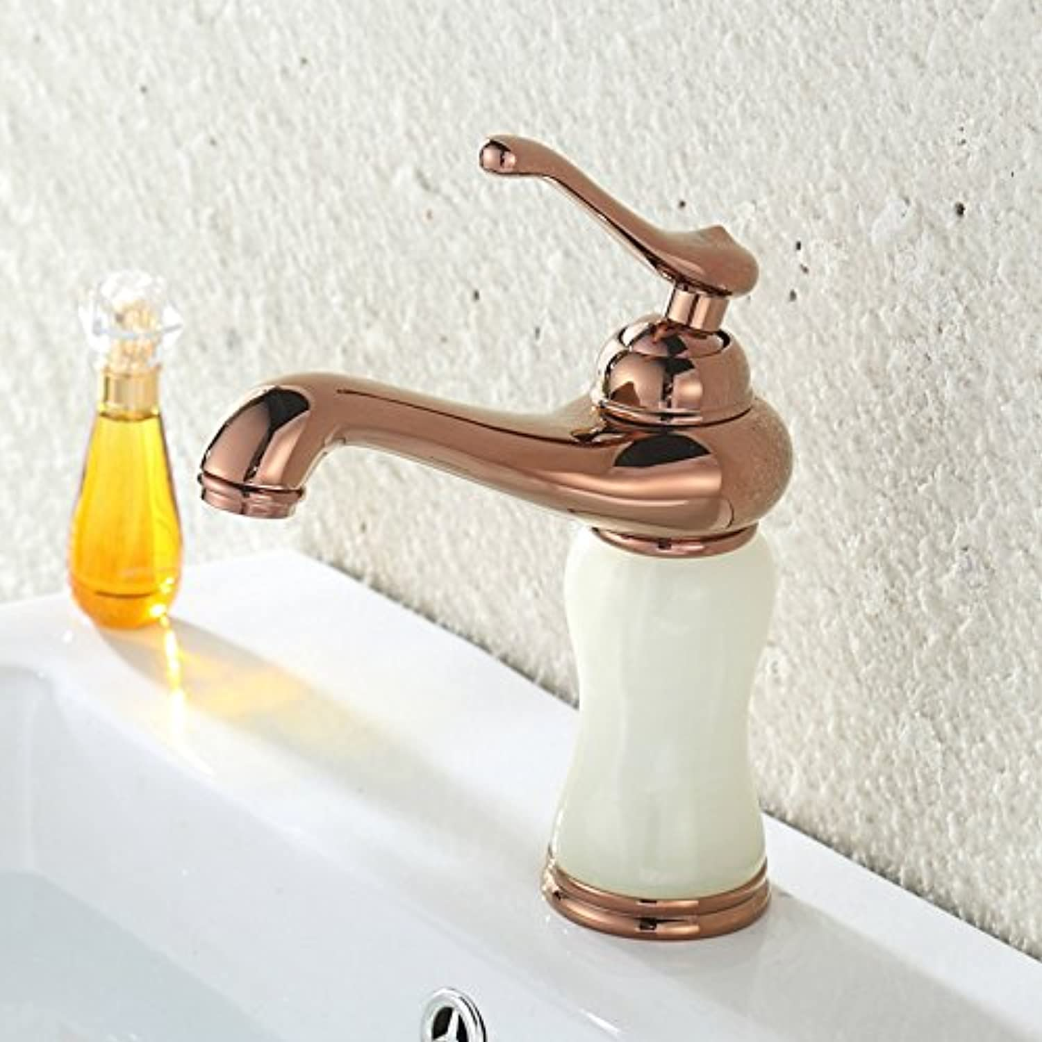 Retro Deluxe Fauceting Free Shipping Luxury pink golden bathroom tap by solid brass bathroom basin faucet with gold stone bathroom mixer taps