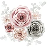 Rainbows & Lilies Large 3D Paper Flowers Decorations for Wall, Wedding, Bridal Shower, Baby Shower, Nursery Decor, Flower Backdrop, Party - 10-Pieces, Handmade & Assembled (Pink, Silver, Off-White)