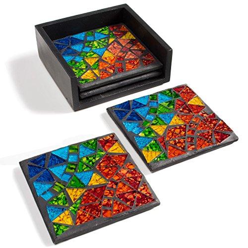 Just Contempo - Sottobicchieri, Ceramica, Mosaico., 9x9 cm