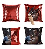 Actor Jeff Goldblum Topless Sweaty Sexy_MA0791 Sequins 16x16 Pillow Cover with 18x18 inch Insert Girly Stuff Boys Xmas Present (Cover + Insert)